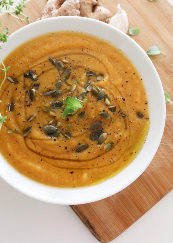Σούπα Βελουτέ από κόκκινη φακή, Κολοκύθα, κύμινο και ginger